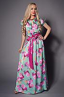 Стильное вечернее платье из принтованного шелка в красивом цвете