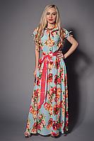 Изящное шелковое платье  с красивыми цветами от производителя