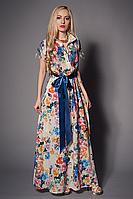 Нарядное женское платье в пол с очень красивым цветочным принтом из шелка