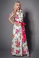 Яркое летнее платье длинное в пол с красивым цветочным принтом с поясом