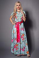 Красивое вечернее платье из шелка в комплекте с атласным поясом