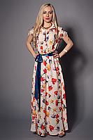 Оригинальное длинное платье в пол модного кроя с цветочным принтом