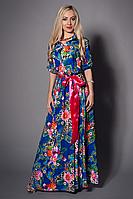 Стильное платье длинное в пол из шелка с атласным поясом
