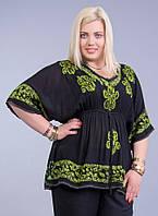 Блузка женская черная с зеленым рисунком на резинке, батал, размер свободный