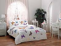 TAC Евро комплект постельного белья сатин Butterfly mavi