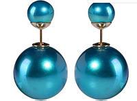 Серьги шарики Dior голубые