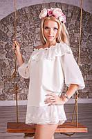 Шифоновая женская туника-платье с кружевом 952
