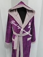 Женский велюровый халат с капюшоном Ramel бамбук Турция