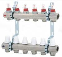 Коллектор (гребенка) с расходомером вентильный Icma на три выхода 3/4*3 с плавной регулировкой и фитингом
