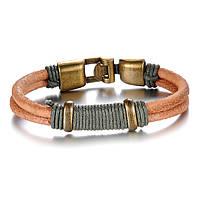 Кожаный браслет мужской с бронзовыми вставками