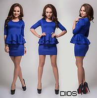 Платье Синее с двойной баской