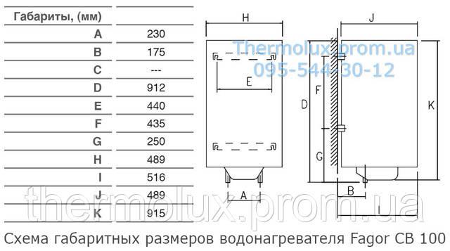Схема габаритных размеров электрических водонагревателей Fagor CB-100i
