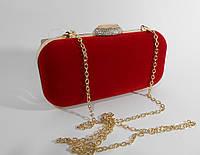 Вечерний велюровый клатч красный, сумочка Rose Heart, расцветки в наличии