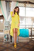 Короткое платье из прошвы с удлиненным подолом(3 цвета)