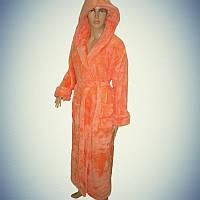 """Женский махровый халат (Длинный с капюшоном) """"Оранжевый"""" 2XL - 54-56 - Турция"""