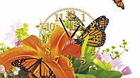 """Часы настенные стеклянные """"Бабочки на лилиях"""""""
