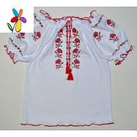 Детская вышиванка с коротким рукавом Розочки. Размер 116 - 140