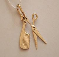 Золотая подвеска ножницы 585 пробы