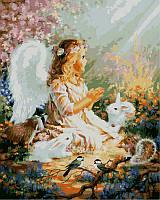 Картина раскраска по цифрам Ангелок и лесные зверушки худ Гелсингер, Дона (VP385) 40 х 50 см