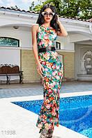 Платье сарафан в пол цветочной расцветки без рукавов трикотаж масло