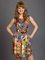 Женское платье из шифона с округлым вырезом горловины