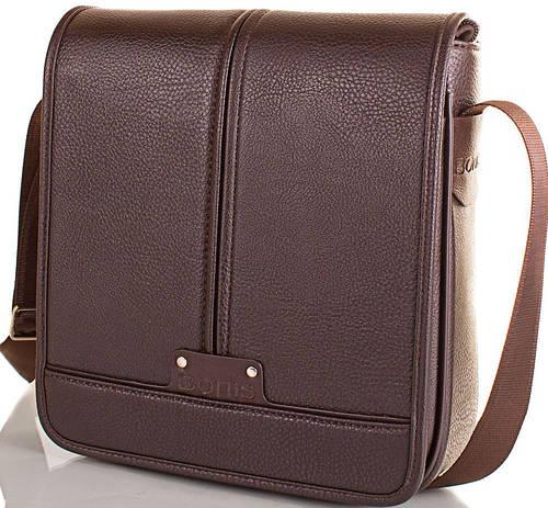 Мужская прочная сумка-почтальонка из качественного кожзама BONIS (БОНИС) SHIM8098-brown коричневый