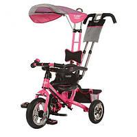 Детский трехколесный велосипед Turbo Trike М 5378-1 розовый надувные колеса