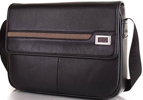 Мужская сумка-почтальонка из качественного кожзама BONIS (БОНИС) SHIL8101-black черный