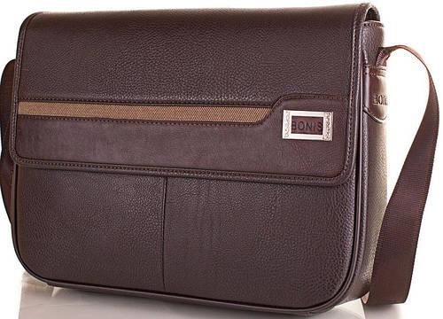Мужская стильная сумка-почтальонка из качественного кожзама BONIS (БОНИС) SHIL8101-brown коричневый