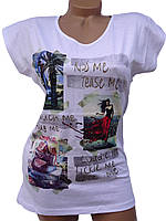 Стильные хлопковые футболки (белый 44-50)