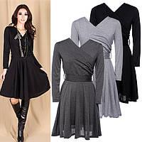 Женское платье. Черный и серый цвет.