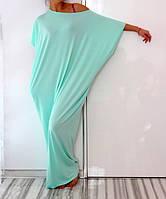 Платье оверсайз бирюзового цвета из трикотажа в пол