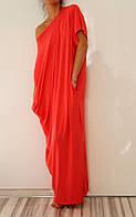 Платье оверсайз кораллового цвета из трикотажа в пол