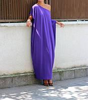 Платье оверсайз фиолетового цвета из трикотажа в пол