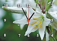 """Часы настенные стеклянные """"Роса на белой лилии"""""""