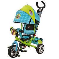 Детский трехколесный велосипед Turbo Trike М 0156-01 Маша и Медведь, цвет зелено-голубой