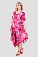 Оригинальное летнее платье свободного кроя с ярким принтом