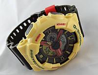 Яркие часы G-Shock G100, водонепроницаемые, желтые с черным