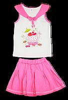 Костюм летний с принтом для девочки майка и юбка