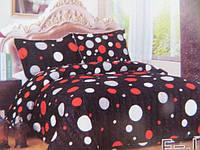 Плед на кровать евро размер черное с кругами