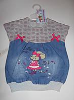 Платье-туника короткий рукав на девочку 1-2-3 года