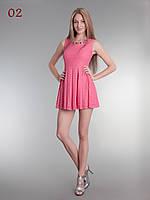 Летнее гипюровое короткое платье коралловое , фото 1