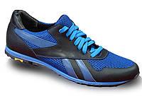 Кожаные летние кроссовки сетка (синие)