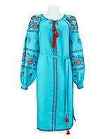 Великолепное платье вышиванка из модного бирюзового льна. Цвет вышивки можно любой