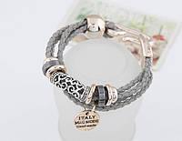 Элегантный плетеный браслет с подвеской и кольцами, цвет серый