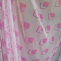 Ткань тюлевая шифоновая,рисунок -печать розовый