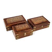 Резные шкатулки из дерева ручной работы 3 шт в наборе WDS264