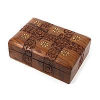 Резная деревянная шкатулка из палисандра с металлическим декором WDS268