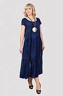 Легкое удлиненное платье свободного кроя материал хлопок