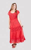 Стильное женское платье длинное свободного кроя из хлопка